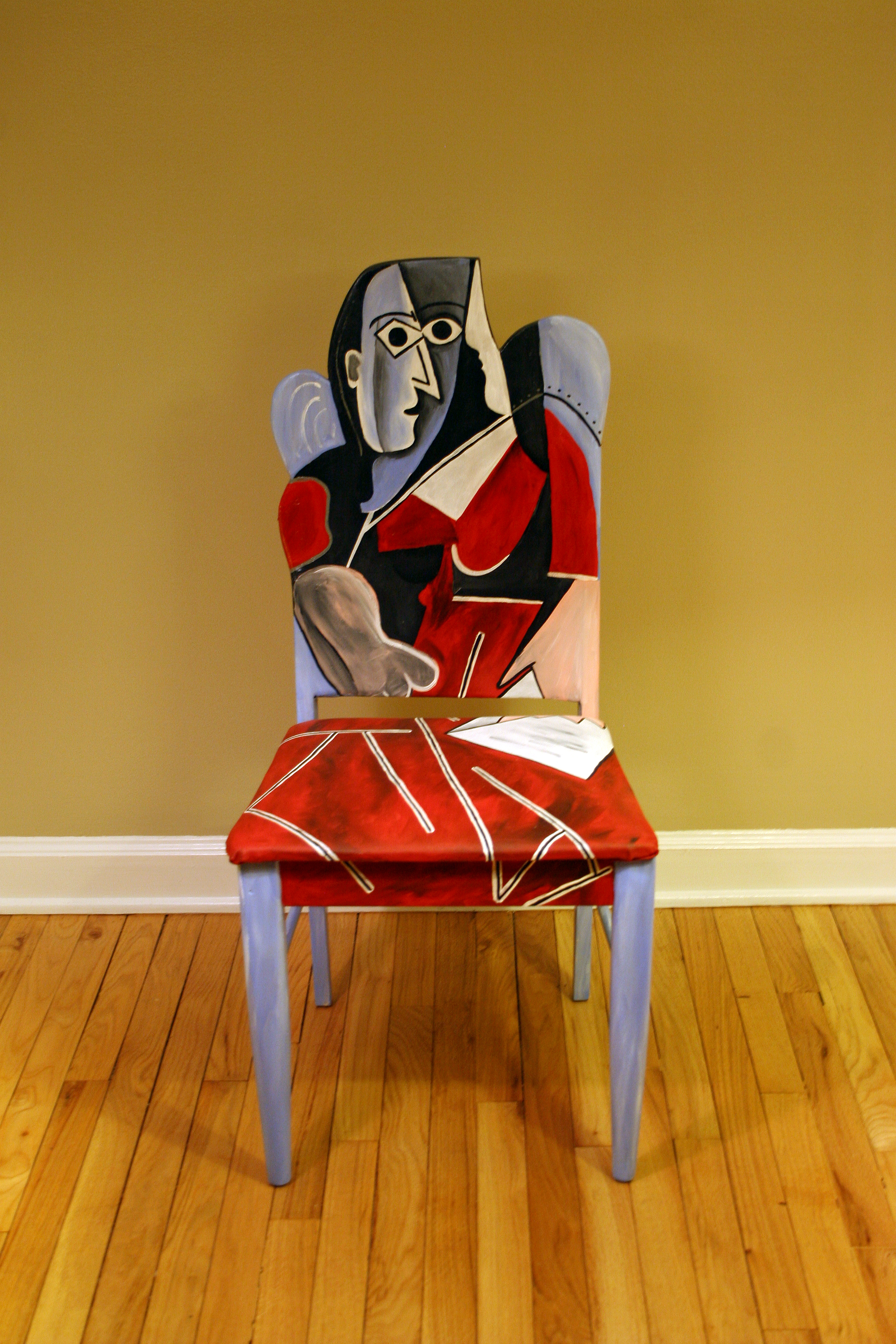 This Upcycled Painted Chair Pays Tribute To Picassou0027s Woman In Red Painting.  The Striking Cubist Piece Of Artwork Is Painted In Acrylic Blends And  Shades Of ...