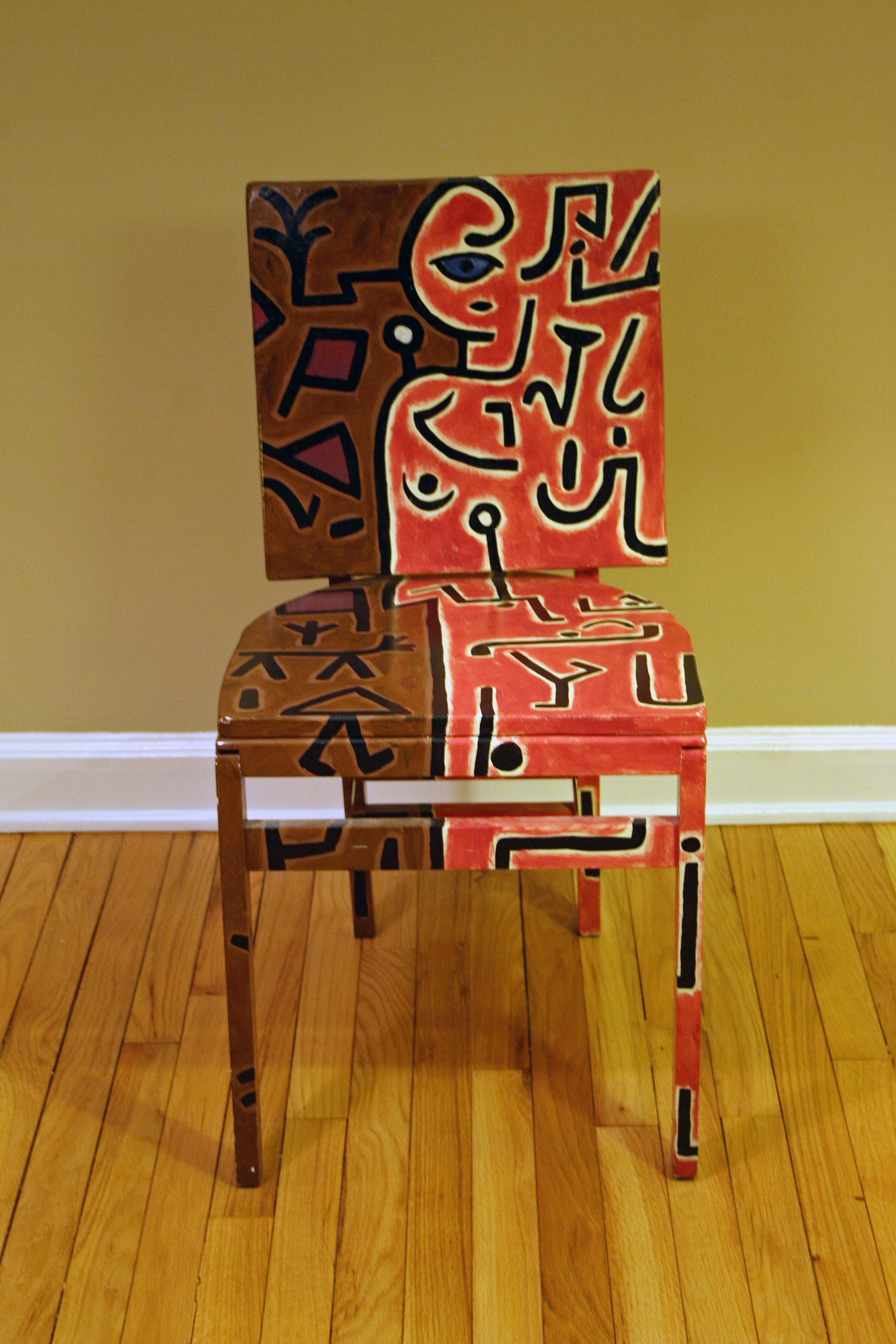 This Upscaled Painted Chair Pays Tribute To Kleeu0027s Intension Painting. The  Striking Cubist Piece Of Artwork Is Painted In Acrylic Blends And Shades Of  Red, ...