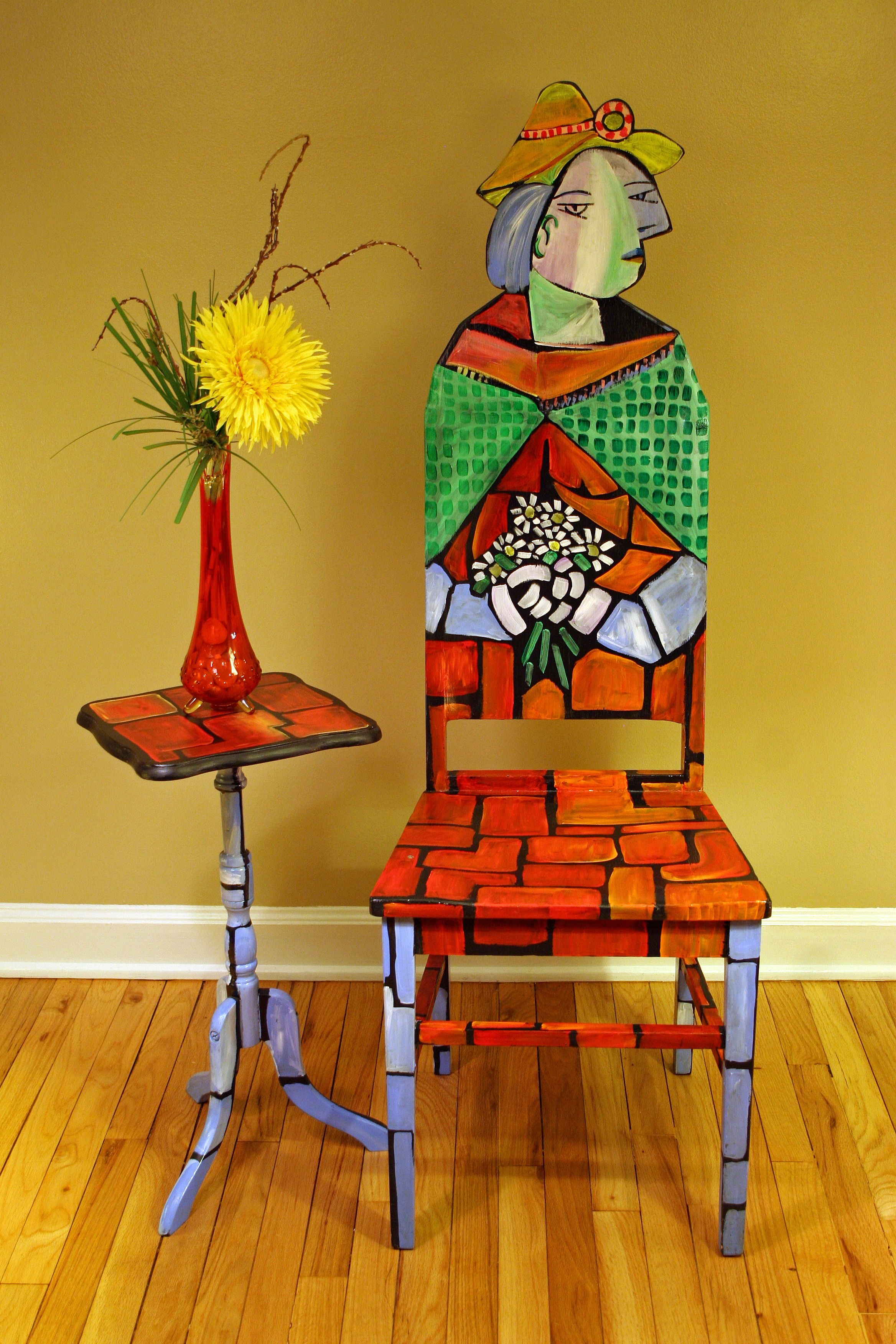 This Cubist Piece Of Artwork Uses Bright Red, Orange, Light Blue And Green  Acrylic. The Backside Of The Chair Has ...