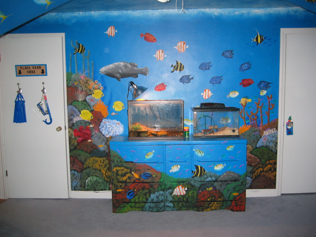 Coral reef bedroom mural todd fendos art for Coral reef mural