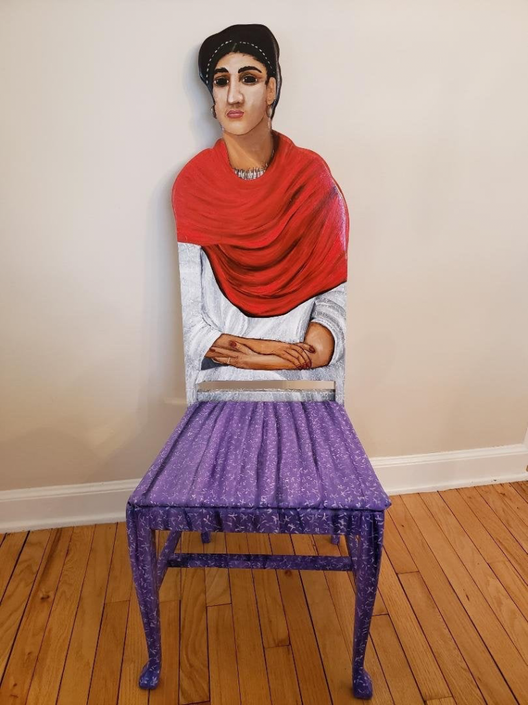 Frida Kahlo with a Red Shawl upscaled chair painted by Artist Todd Fendos