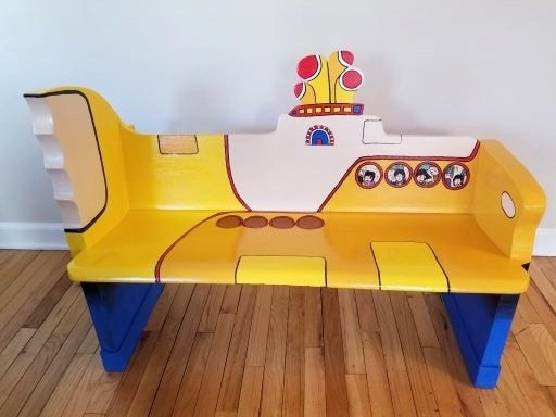 The Beatles Yellow Submarine Artwork upcycled Bench painted by Artist Todd Fendos